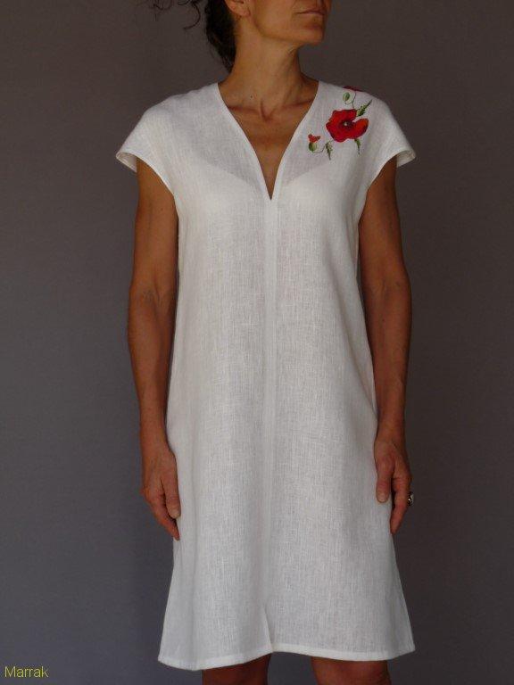 001 (8)-Création de vêtements en lin peint à la main