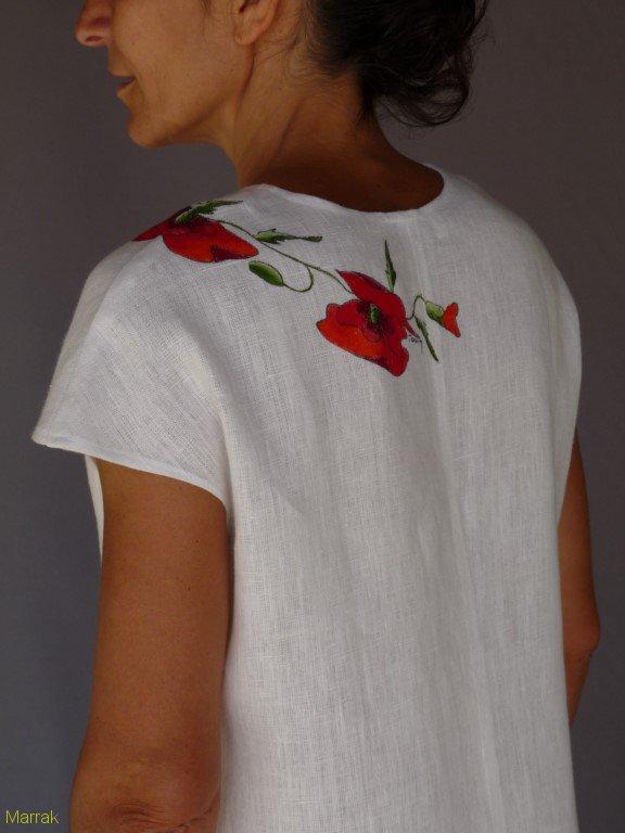 001 (11)-Création de vêtements en lin peint à la main