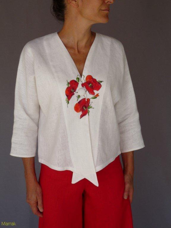001 (13)-Création de vêtements en lin peint à la main