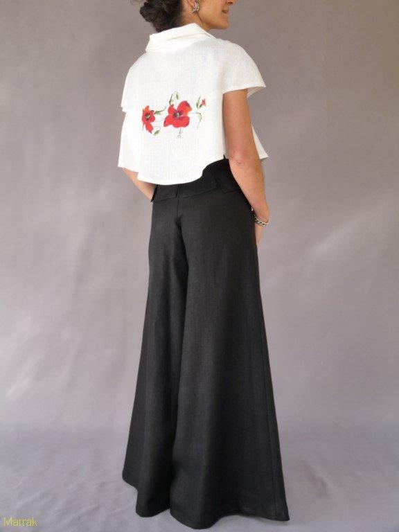 001(17)-Création de vêtements en lin peint à la main