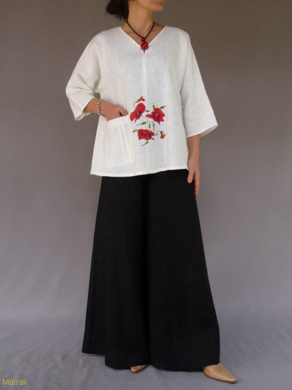 001 (6)-Création de vêtements en lin peint à la main