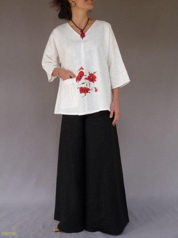 001 (18)-Création de vêtements en lin peint à la main
