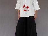 001 (7)-Création de vêtements en lin peint à la main